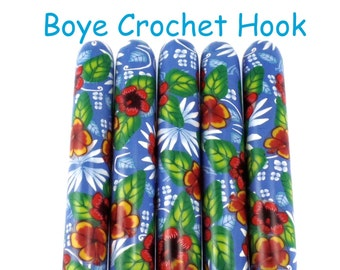Crochet Hook, Polymer Clay Covered Boye Crochet Hook, Crochet Hook sizes B-N, Aloha, Hawaiian Design