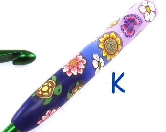 Susan Bates, K 10.5/ 6.50mm, Polymer Clay Covered Crochet Hook, Turtles and Butterflies