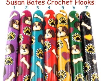 Crochet Hook, Polymer Clay Covered Susan Bates Crochet Hook, Dog Design