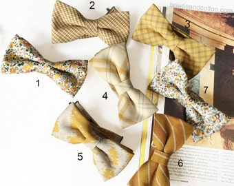 Wedding Set of Yellow, Mustard Men's Bow Ties, Groomsmen Bow Ties, Mismatched Wedding Bow Ties