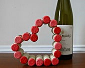 Painted Wine Cork Heart - Valentine's Day Ornament, Wedding Decor, Home Accent