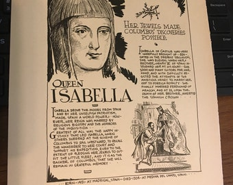 Book page print. Queen Isabella  7 x11 Great for framing for the collector. History.