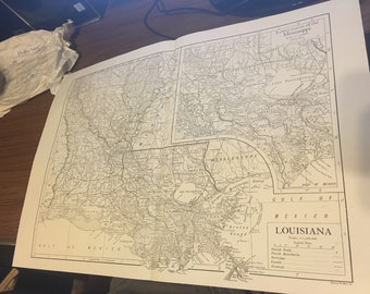 Circa 1910 Louisiana State Map . Great for framing! Free shipping. 11x17 paper image.
