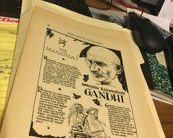 Book page print . Ghandi the mahatma!. 7 x11 Great for framing for the collector. History.
