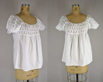 1940s top / 40s lace peasant top / Laceglow top