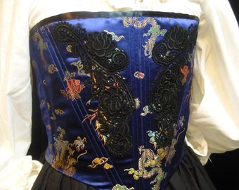 Royal Blue Brocade Renaissance Corset, Small