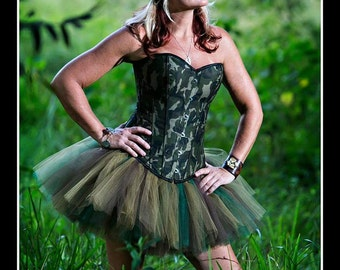MILITARY BRAT Tutu and Corset Set with Army Cap