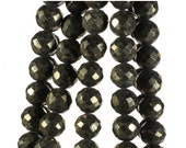 ON SALE Pyrite Rondelles Beads Faceted Pyrite Rondels Fool's Gold Earth Mined Pyrite - 4-Inch Strands - 6 to 6.5mm