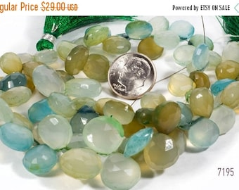 ON SALE Aqua Chalcedony Briolettes Heart Beads Khaki Light Turquoise Teal Faceted Shaded Mixed Colors Faceted - 17 Beads - 9x9 to 12x12mm