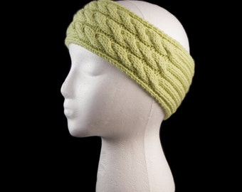Green knit three cable headband earwarmer - ready to ship