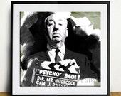 Alfred Hitchcock print black white green halloween scary film movie pop modern art  illustration gothic horror poster