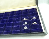 Antique Purple Velvet Lined Box Case Holds 36 Rings Jewlery Showcase Travel Storage Recycle Upcycle Display
