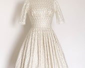 Full Lace and Champagne Silk Dupion Wedding Dress with Pleated Skirt - Made by Dig For Victory