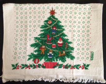 Vtg Christmas Tree Terrycloth Hand Towel - Kitchen or Bath  - Unused