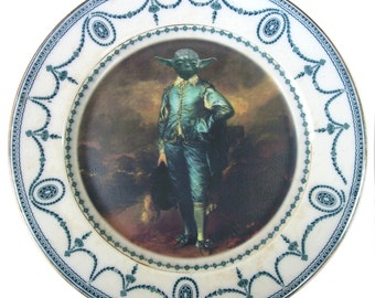 The Blue Yoda Portrait - Altered Vintage Plate 10.15""