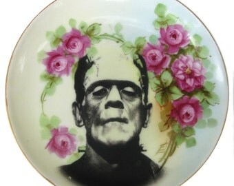Frankenstein Portrait Plate - Altered Vintage Plate 6.75""