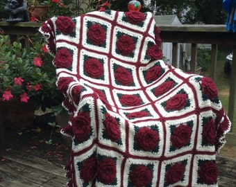 Dark Red Roses and Ruffles Crocheted Afghan - Burgundy Rose - 35 squares - Ready to Ship