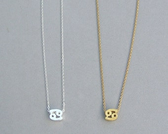 Zodiac Cancer Necklace in Silver Plated or Gold Plated