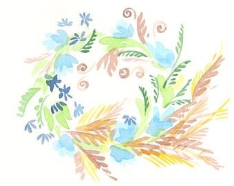Summer Wreath - Original Watercolor