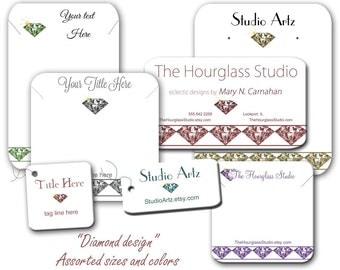 Diamond Display Cards, Earring Cards, Diamond Logo, Jewelry Display Cards, Product Cards, Tags, labels, Stickers