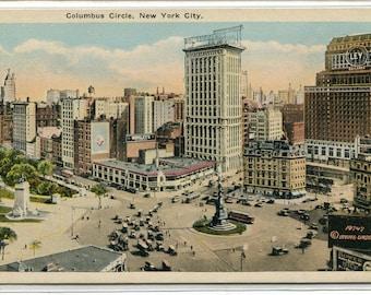 Columbus Circle New York City NYC NY 1920c postcard