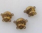 Brass Stampings, Cherub Face Findings, Vintage Connectors, Brass Connectors, Old Brass Findings, Stamped Brass, Jewelry Findings