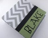 Boy Photo Album - gray and green chevron -personalized baby album  4x6 5x7 8x10- shower gift