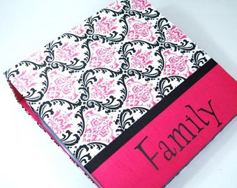 PHOTO ALBUM Girl Photo Album Personalized Photo Album baby photo album wedding photo album 4x6 5x7 8x10 600 picture hot pink black damask