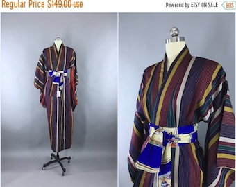SALE 50% OFF - Vintage 1930s Silk Kimono Robe / 1930s Dressing Gown / 30s Loungewear / Downton Abbey Art Deco / Meisen Ikat Stripes