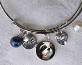 Cavalier King Charles Charm Bracelet ~ Girlfriend Gift ~ Dog Bracelet ~ Wire Bangle ~ February Birthday
