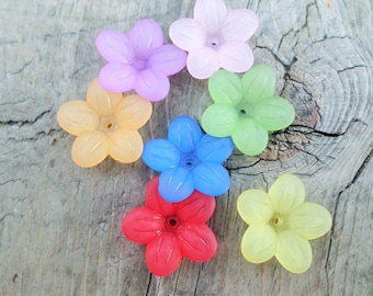 Lucite Flower Beads Mixed Colors 20mm X 5mm (Item Number PL553M)
