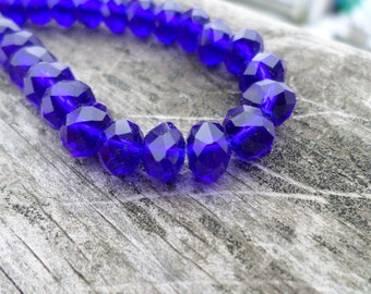 Tiaria Crystal Royal Blue Faceted Rondelle Beads 4x3mm