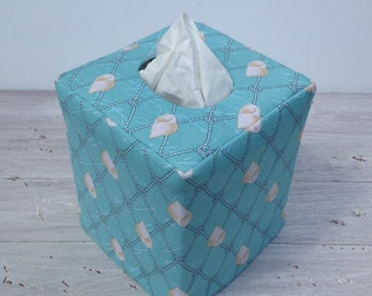 Seashell and aqua coral reversible tissue box cover