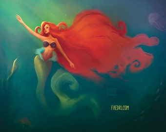 The Little Mermaid Illustration Art Print