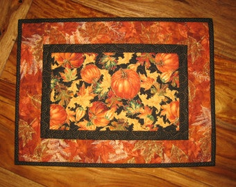 Quilted Table Topper, Tossed Pumpkins Leaves and Gourds, Fall Autumn Decor, Orange, Black, Red, Thanksgiving Topper, Fall Runner Handmade