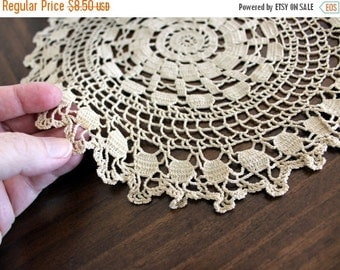 Crochet Doily or Tray Cloth - Dark Ecru or Tea Dyed - Hand Crocheted Lace - 13357