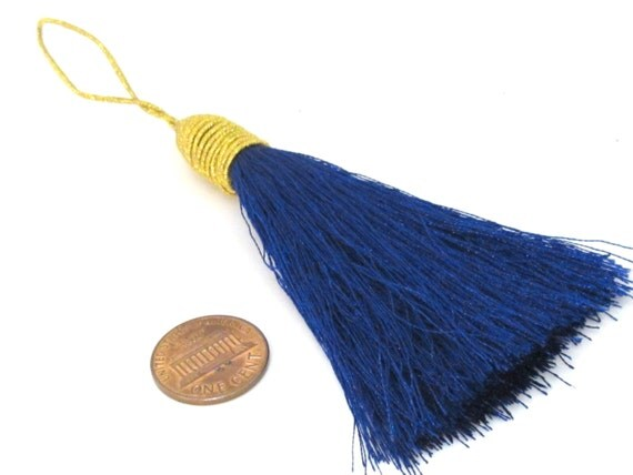 1 Piece  - Long dark blue color silky tassel charm with golden cord twine - tassle fringe craft supply - TS003