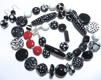 Kazuri Beaded Necklace, Ceramic Necklace,  Fair Trade, Black and White Necklace with a dash of Red, Kazuri Earrings