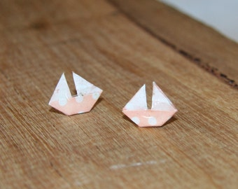 Origami Boat Stud Earrings - Light Pink and White - Waterproof
