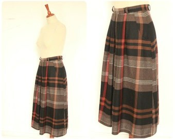 Brown Check Wool Skirt Size Small