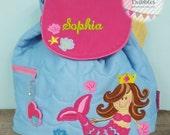 Girls Monogrammed Mermaid Stephen Joseph Preschool Backpack Quilted toddler