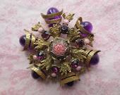 Vintage large byzantine design gold tone metal pendant  brooch pin. Lot of 1.