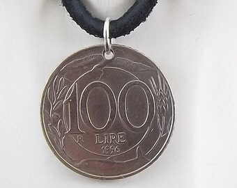 Italian Coin Necklace, 100 Lire, Coin Pendant, Leather Cord, Mens Necklace, Womens Necklace, 1996