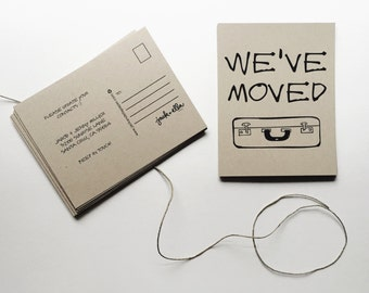 Change of Address Postcards (suitcase style) - set of 40 -  Moving announcement, Recycled postcards, New address, Earthy & Economical