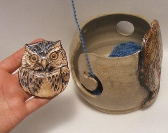 Owl Yarn bowl, Stoneware Ceramic Yarn Bowl, With One Big Beautiful Owl Button