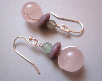 Rose Quartz Earrings, Sterling Silver Earrings, Stone Earrings, Pink Earrings, Aventurine Earrings, Modern