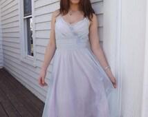Gotham Gold Stripe 50s Chiffon Nightie Negligee Gown 1950s Vintage Lingerie Sheer Purple Blue 32 XS