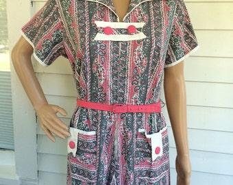 50s Print Dress Floral Cotton Pink Gray White Plus XL XXL Vintage 42 Bust