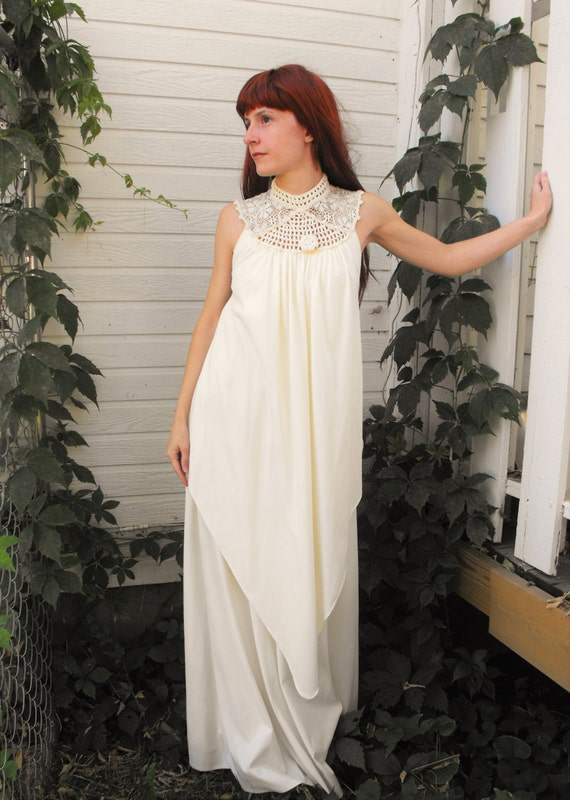 70s Grecian Maxi Dress Goddess Ivory Crochet Lace Hippie Boho Draped Vintage S