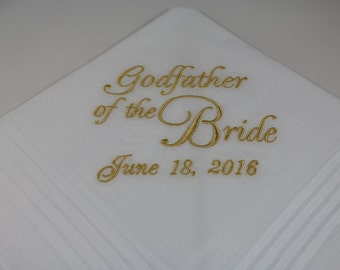 Personalized - Godfather of the Bride - Embroidered - Wedding Handkerchief - Wedding Gift - Simply Sweet Hankies
